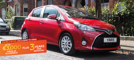 Up to €3,000 Trade Up Allowance PLUS 3 Years Free Servicing on a new Yaris
