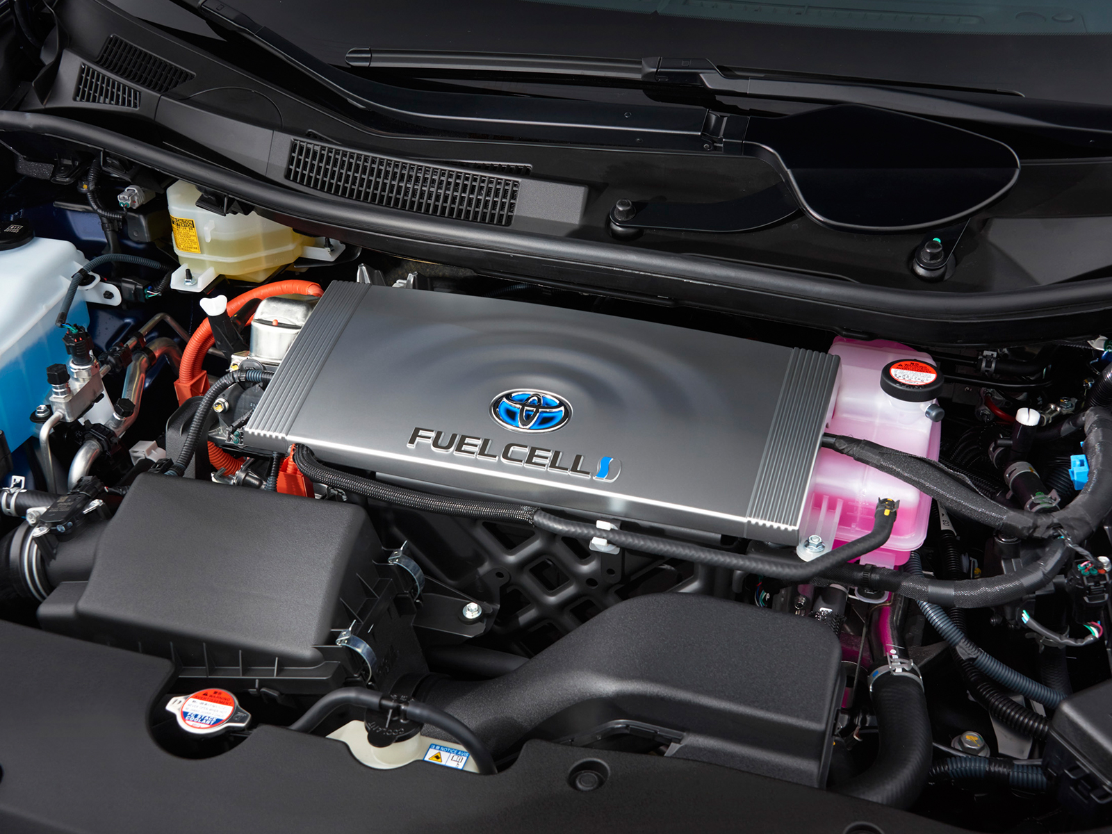 Fuel Cell Vehicle Toyota Europe Further Hydrogen Oxygen On Car Engine Diagram And React In The Stack Producing Electricity To Power Wheels