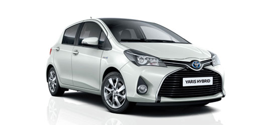 Toyota Yaris Hybrid, exterior front side view, White in white background