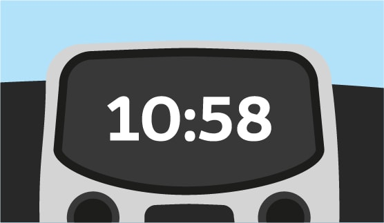 Close-up of an in-car clock, animated background.