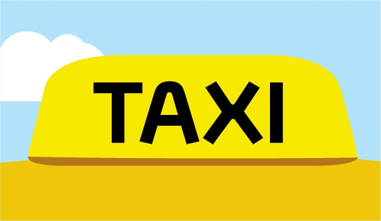 Close-up of a taxi sign, outdoors, animated background.