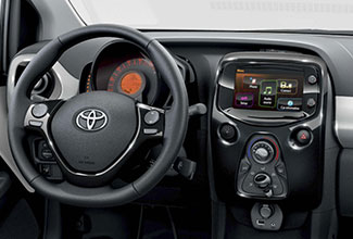 Toyota Aygo, interior leather steering wheel & control panel