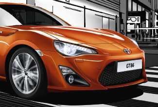 Toyota GT86, exterior Orange, front side view, animated background