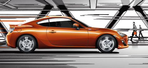 Toyota GT86, exterior Orange, side view, animated background