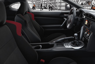 Toyota GT86, interior side view of front black seats
