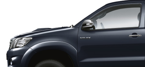 Hilux 4x4, Blue exterior, side view, white background