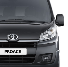 Toyota Proace, Black exterior, front view, white background