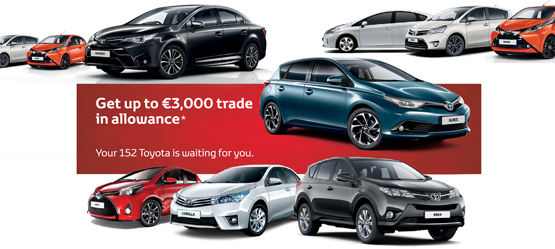 Up to €3,000 Trade Up Allowance on any new Toyota car*