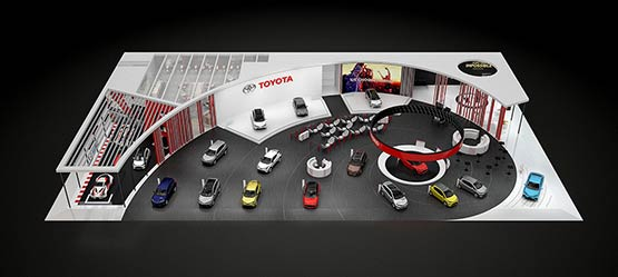 Toyota stand at Paris Motorshow to showcase new generation self-charging hybrid models